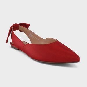 NEW! WWW Misha Grograin Bow Ballet Flats - Red